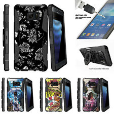 For Samsung Galaxy Note 7 N930 Armor Clip Holster Stand Case Black White Flowers