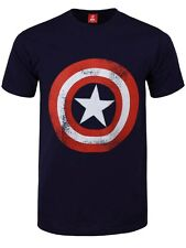 Marvel Comics Captain America Shield Distressed Men's Navy Blue T-shirt