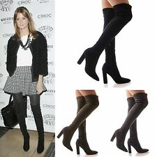 LADIES WOMENS BOOTS OVER THE KNEE STRETCH FITTED HIGH HEEL FORMAL SHOES SIZE