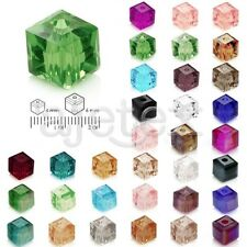 100pcs Crystal Beads Faceted Cube Square Center Drilled Jewelry Making 4mm 6mm