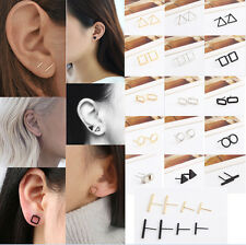 1Pair 3D minimalism Hollow-out Triangle square Geometry Punk Studs Earrings