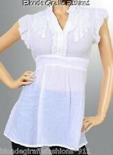 White Silky/Gauze Ruffle Front Cap Sleeve Plus Top 1XL