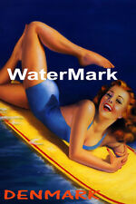 SURF DENMARK BEACH GIRL WATER BOARD SURFING FUN TRAVEL VINTAGE POSTER REPRO