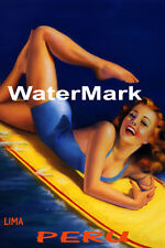 SURF LIMA PERU BEACH GIRL WATER BOARD SURFING FUN TRAVEL VINTAGE POSTER REPRO