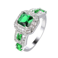 Green Emerald Band Women's Gift 10Kt White Gold Filled Engagement Ring Size 6-11