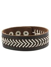 Brown Leather Wristband With V-Shape Stitching