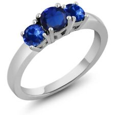 1.32 Ct Round Blue Simulated Sapphire Blue Sapphire 925 Sterling Silver Ring