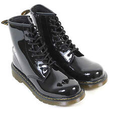 Dr Martens Youth Delaney Patent Leather 8-Eye Lace Up / Zip Boot Black