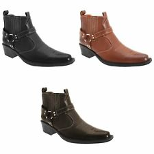 US Brass Mens Eastwood Casual Cowboy /Western Ankle Boots /Slip ons Sizes 7-13
