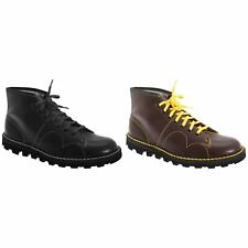 Grafters Mens Original Coated Leather Casual Retro Monkey Ankle Boots Sizes 8-13