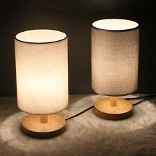 Modern Bedside Table Desk Lamp Light Wooden Base Linen Shade 28CM Height