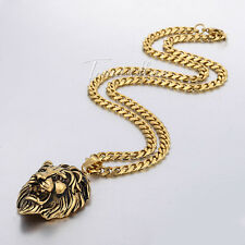 Gothic Gold Tone 316L Stainless Steel Lion Head Pendant Necklace Mens Chain Boys