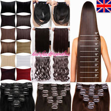 "17/24"" Premium Full Head Clip In Hair Extensions Real Natural As Human Hair UK"