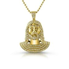 Gold Iced Out Small Jesus Pendant Chain Necklace Set