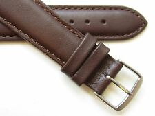 Brown stitched plain genuine leather watch band