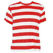 STRIPED T SHIRT TOP RED AND WHITE FANCY DRESS SHORT SLEEVE 100% POLYESTER S-XXL