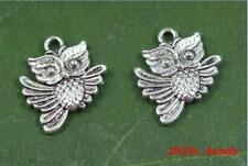 Wholesale 10/30/50PCS Tibetan Silver double-sided owl Charms pendants 17x20mm