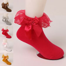 Cute Children Girls Kids Bow Lace Durable Solid Soft Cotton Short Socks Autumn