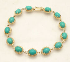 Sleeping Beauty Turquoise Gemstone Tennis Bracelet Real 14K Yellow Gold QVC