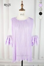 Funky Pleated Chiffon Lined Mesh Short Sleeves Tunic Blouse Top
