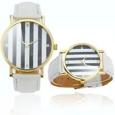 Lady Girl Cute Strips in 2 Colors Dial Analog Quartz Watch Leather Band L7B9