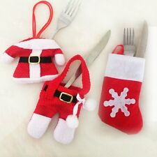 Santa Claus Tableware Silverware Christmas Dinner Party Decorations Holders Set