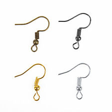 100/500pcs 19mm Silver/Golden Plated Coil Wire Metal Earring Hooks 6 colors