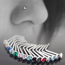 10X Stainless Steel Body Piercing Jewelry Crystal Nose Bone Gem Stud Screw Ring