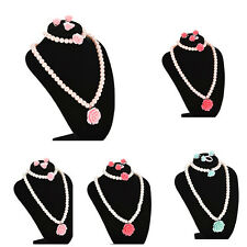 Prevalent Girl Jewelry Rose Flower Necklace Bracelet Ring Ear Clips