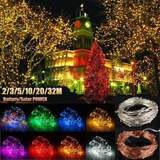 20-300 LED Solar/Battery Copper Silver Wire String Fairy Light Xmas Party Lamp