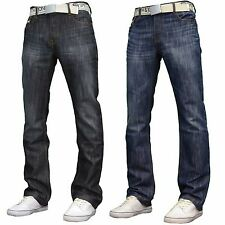 Smith & Jones ZUCCIO Mens Designer Regular Fit Bootcut Jeans w/ Free Belt, BNWT