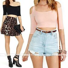 Casual Womens Loose Blouse Crop Tops T-shirt Chic Lady Cut Out Short Sleeve