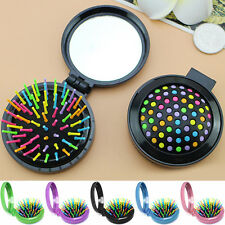 New Portable Travel Folding Hair Brush With Mirror Women Rainbow Needle Circular
