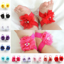2 Pairs Baby Infant Girl Fashion Chiffon Foot Flower Barefoot Sandals 14 Colors