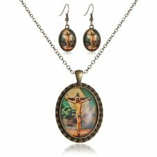 Vintage Bronze Literary Figures Jesus Necklace Earring Jewelry Set Friend Gift