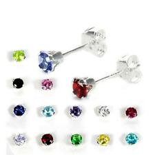 Small 925 Real Sterling Silver 3mm Round CZ Stud Earrings Various Colors Studs