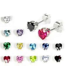 925 Real Sterling Silver 4mm Heart CZ Stud Earrings Aniversary Love Stud Studs