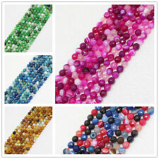"""6mm Multi-Color Faceted Stripe Agate Round Loose Beads 14.5"""""""