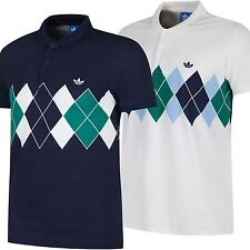ADIDAS ORIGINALS ARGYLE POLO SHIRT RETRO 80s TENNIS B GRADE RARE CLASSIC CASUALS