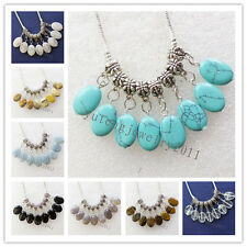 10Pcs Carved Tibet silver Mixed Gemstone Accessories Pendant bead N-19