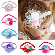 Baby Girl Toddler Rose Flower Faux Pearl Princess Lace Elastic Headband Bluelans
