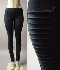 Black Faux Suede Moto Biker Cyber Punk Skinny Fit Leggings 199 mv Pants S M L