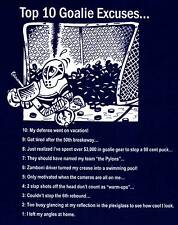 TOP 10 GOALIE EXCUSES hockey T-Shirt ADULT Large Navy