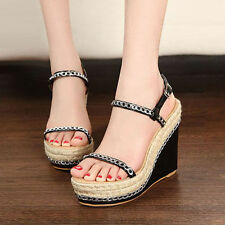 Womens Platform Pump Wedge High Heels Ankle Strap Sandals Shoes Size 2.5-6 UK