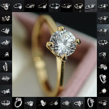NEW 18K White Gold Filled Jewelry Gift white Sapphire Engagement Ring US SIZE 7