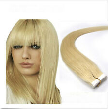 16''18''20''22''24'' 100% Remy PU Tape Human Hair Extensions 613# Bleach Blonde
