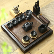 Chinese wenge tea tray solid wood table drainage yixing zisha tea set insulation