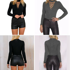 Women Sexy V Neck Cross Open Front Lace Up Long Sleeve Bodycon Jumpsuit Bodysuit