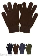 """Men's Stretch Acrylic Sweater Knit Gloves/Hand Warmers 9"""" Black"""