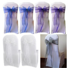 25x Organza Chair Cover Sashes Bow for Wedding Party Birthday Decorations